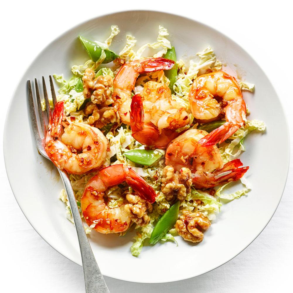 Honey Walnut Shrimp and Asian Slaw