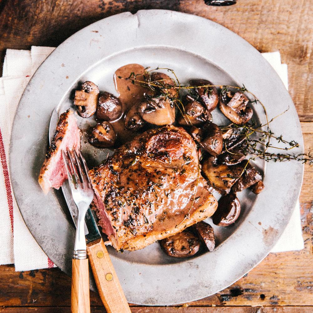 Pan Seared New York Steak with Mushrooms