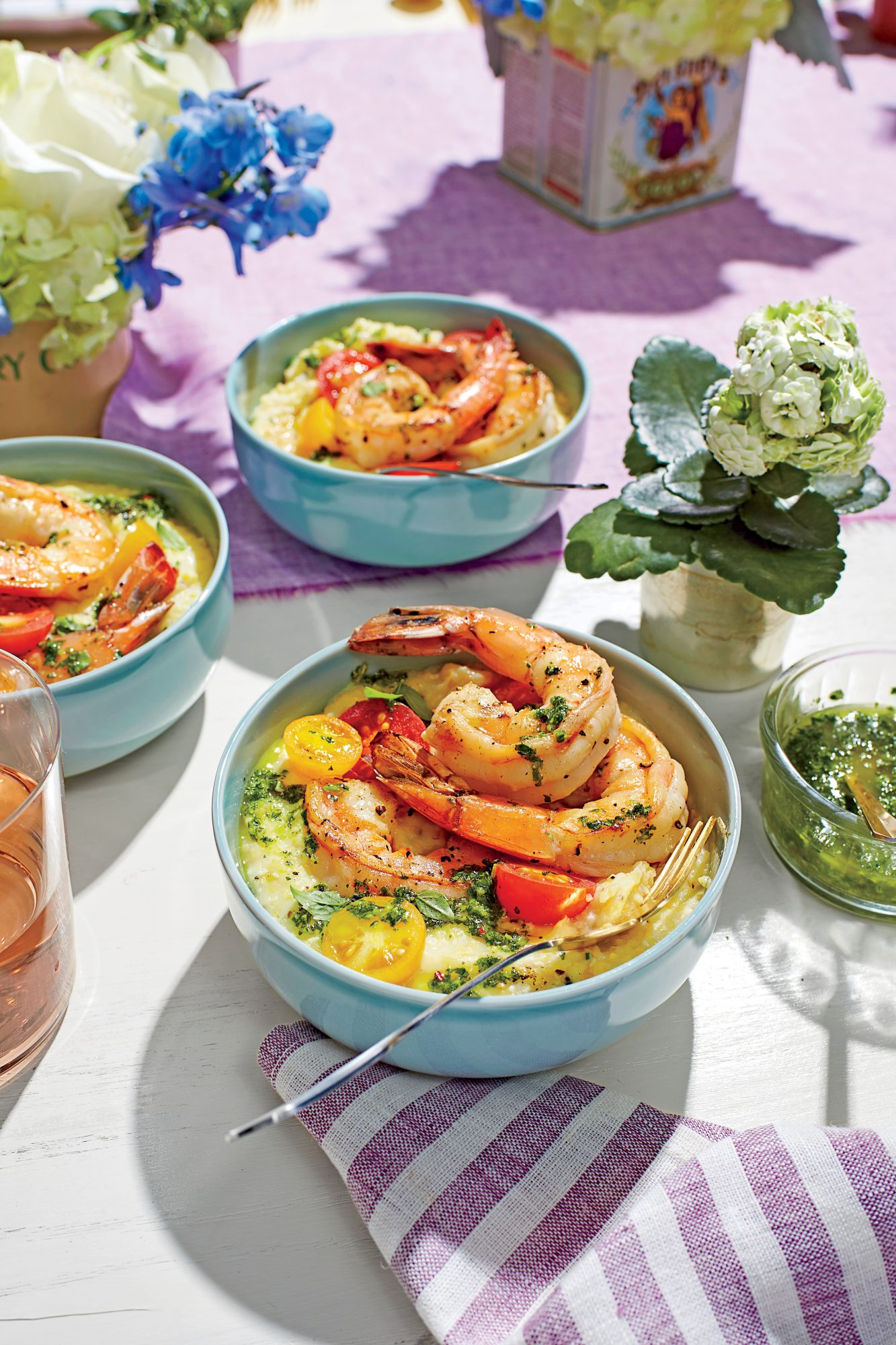 Pan-Seared Shrimp with Chive Grits and Salsa Verde