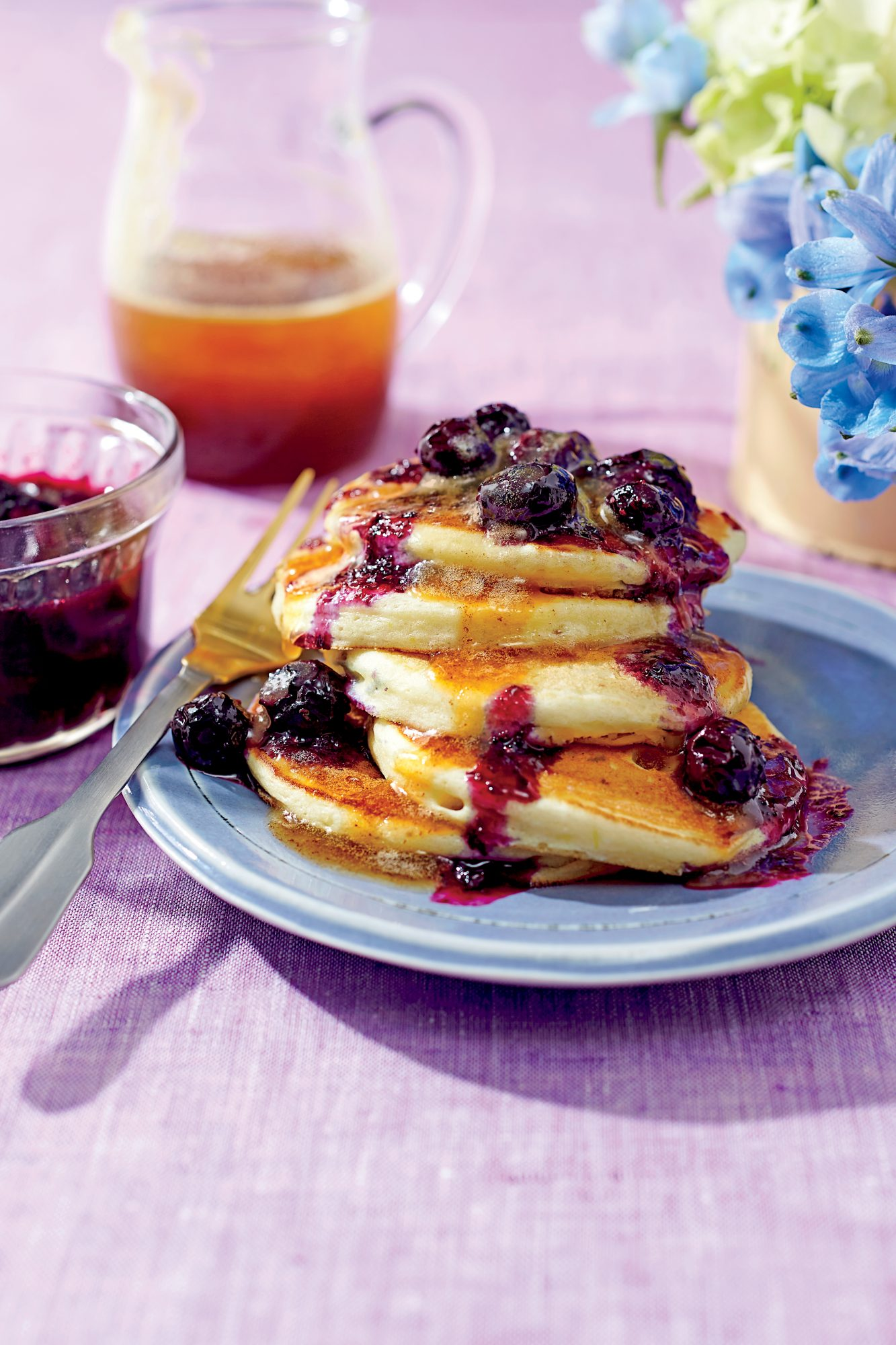 Ricotta Pancakes with Brown Butter Maple Syrup and Blueberry Compote