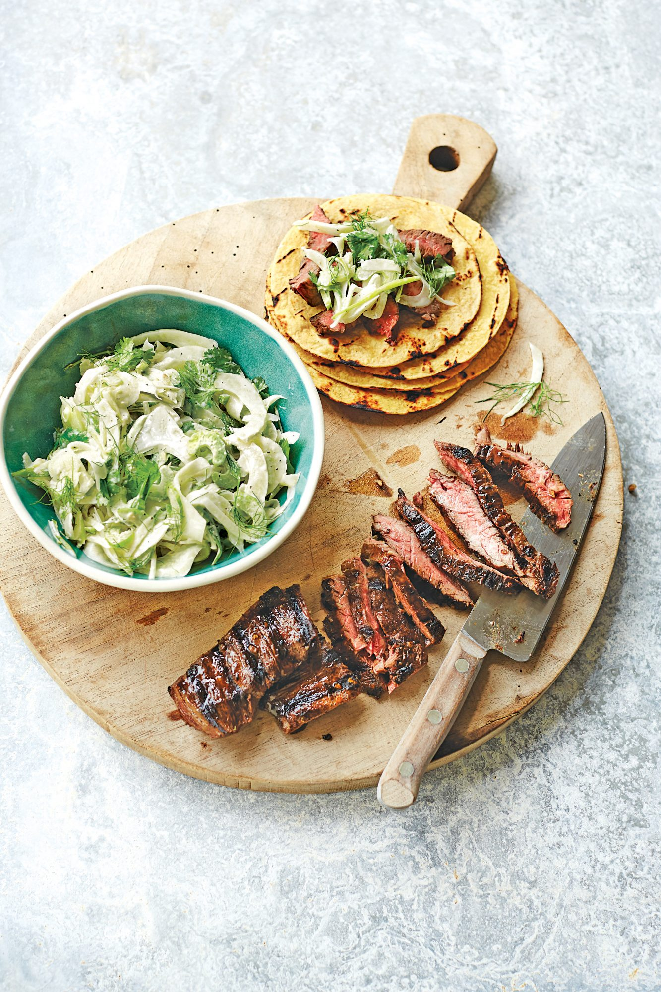 Skirt Steak with Fennel Slaw