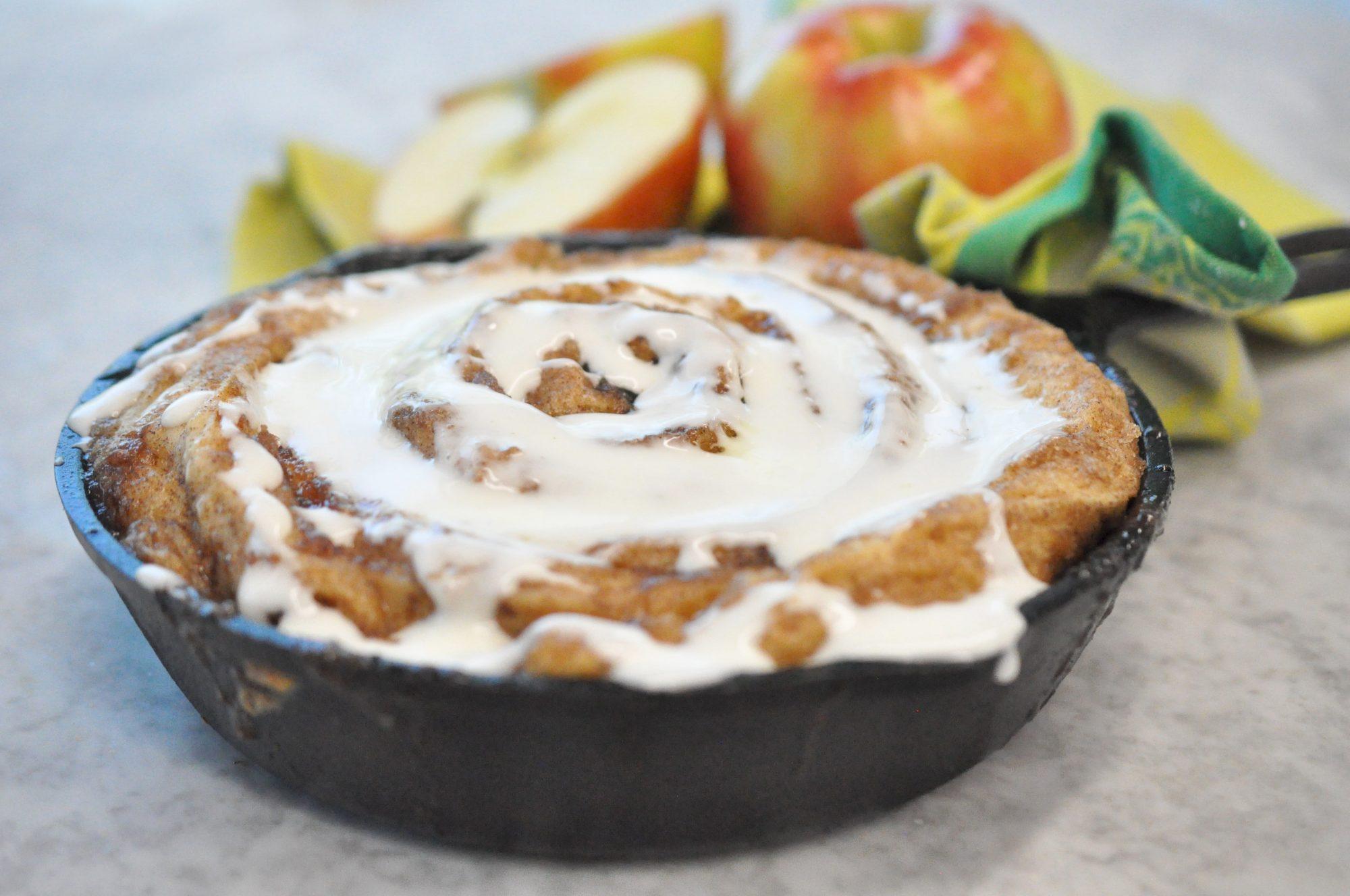 Try MyRecipes: Apple Butter Cinnamon Roll Skillet Cake