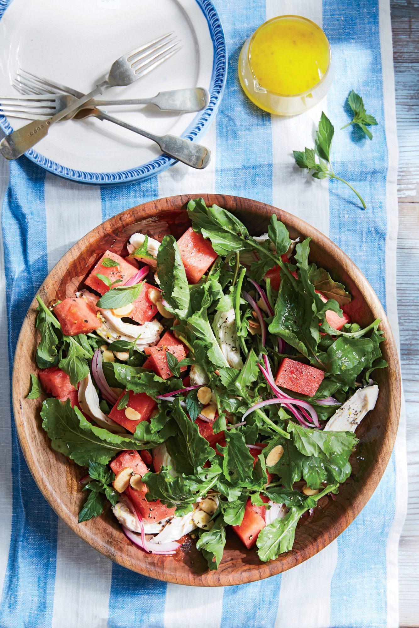Watermelon and Arugula Chicken Salad