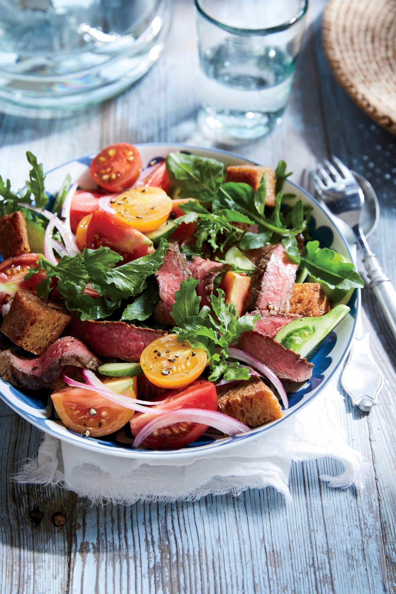 Flank Steak Panzanella Salad
