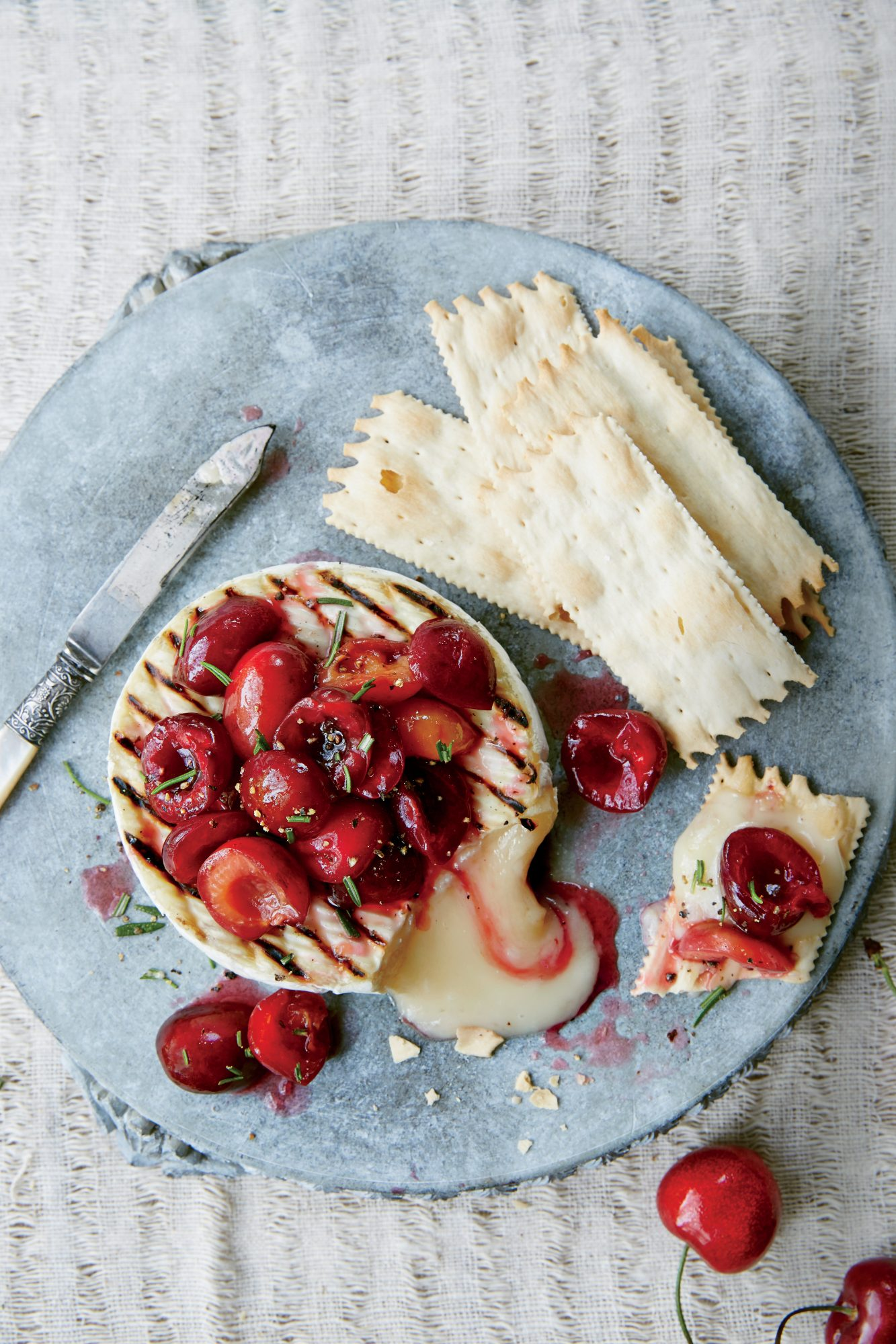 Grilled Camembert with Macerated Cherries and Rosemary
