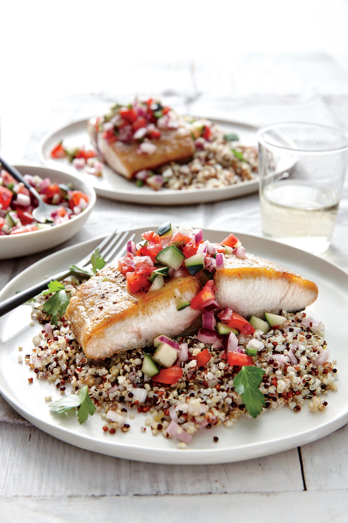 Seared Mahimahi with Tomato Cucumber Relish