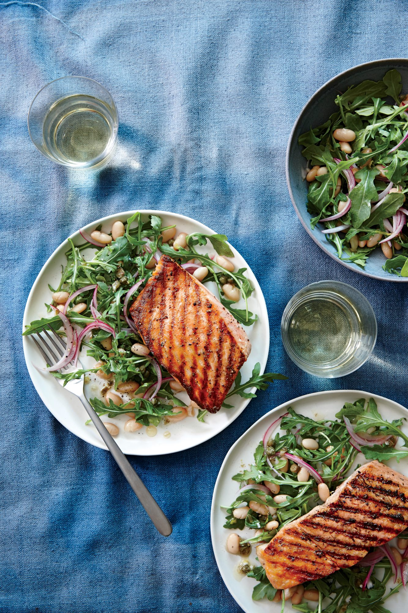 Grilled Salmon and White Bean Salad