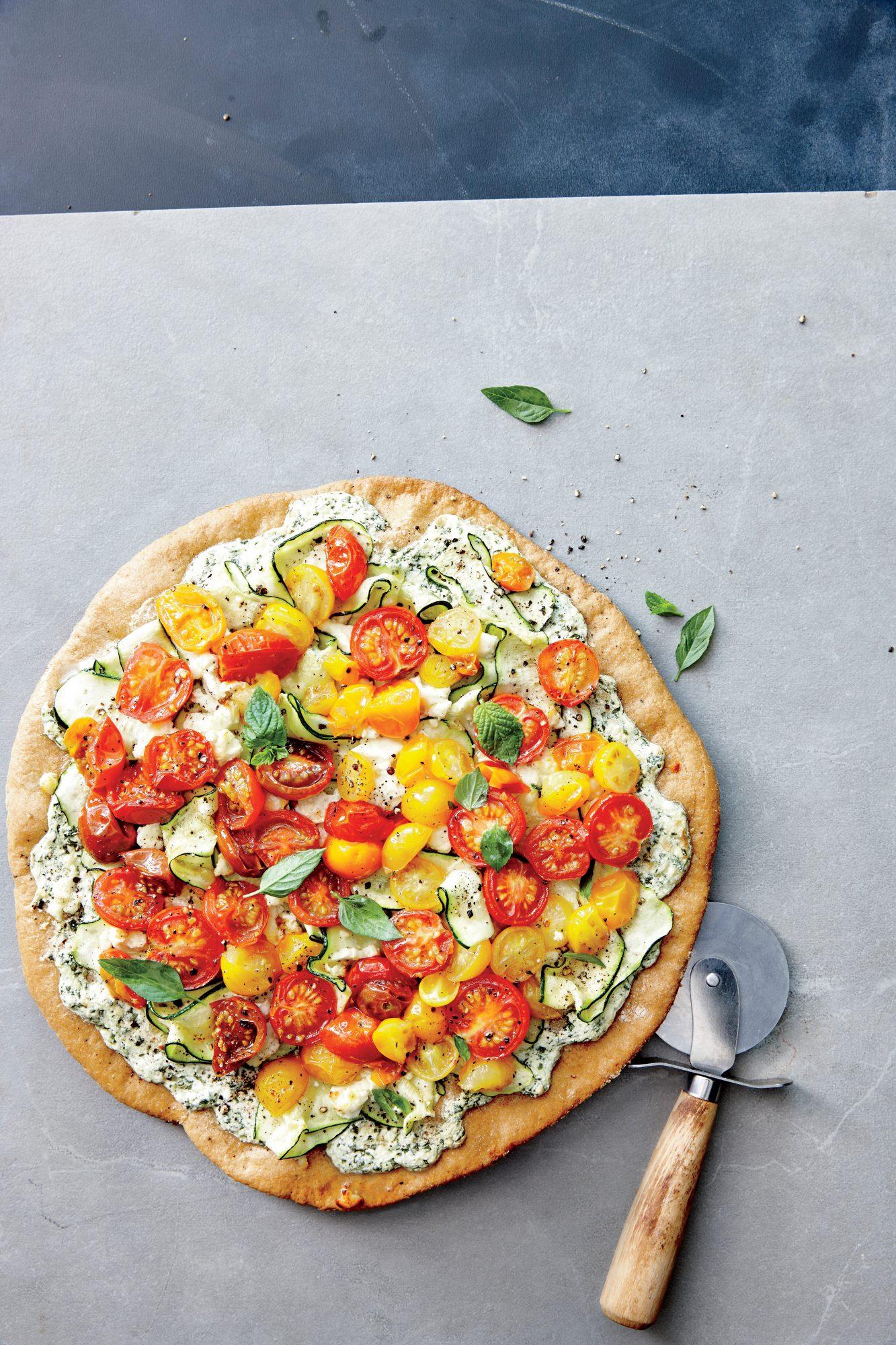Zucchini Ricotta Pizza