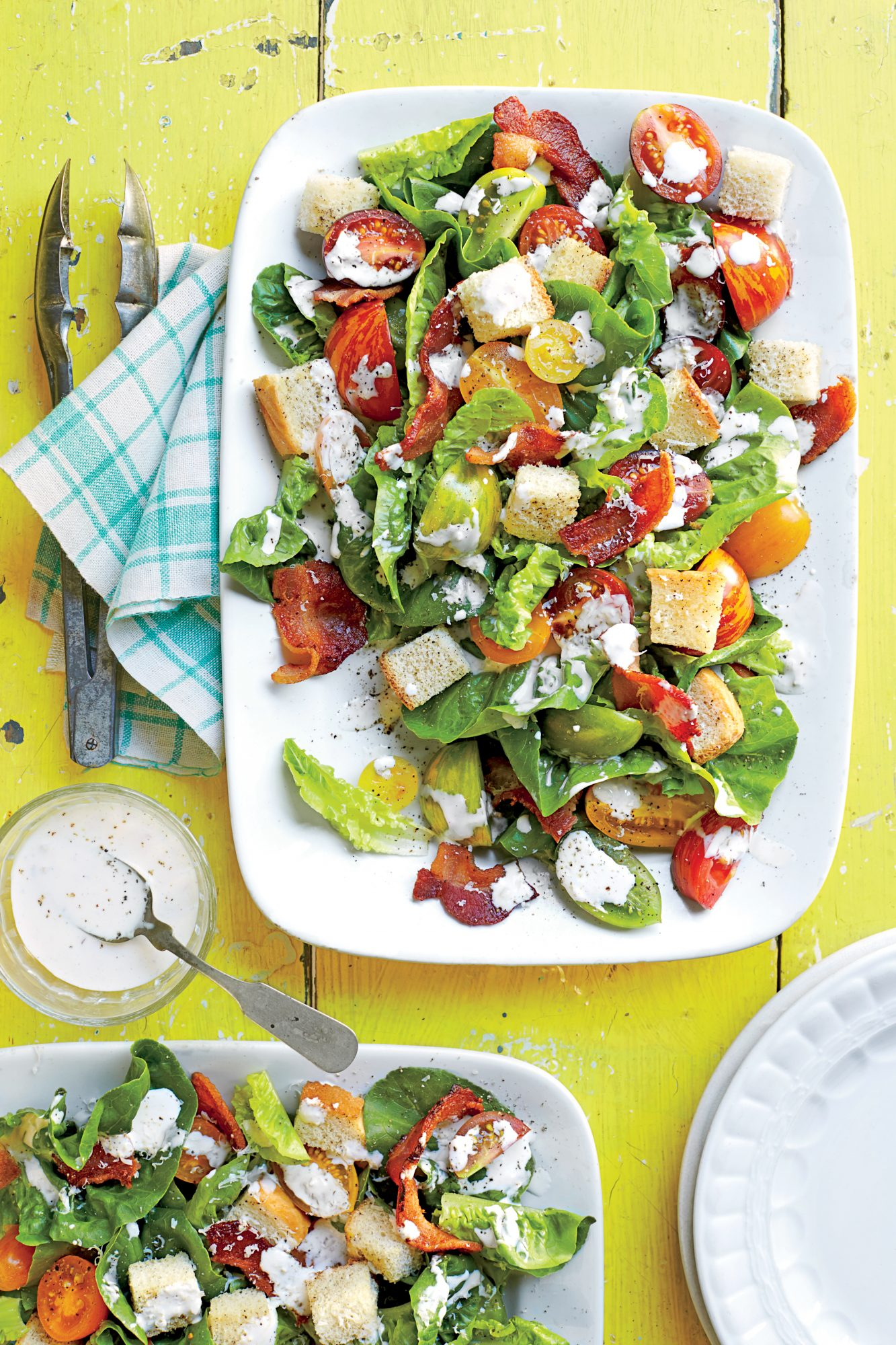 BLT Salad with Buttermilk-Parmesan Dressing and Buttery Croutons ...