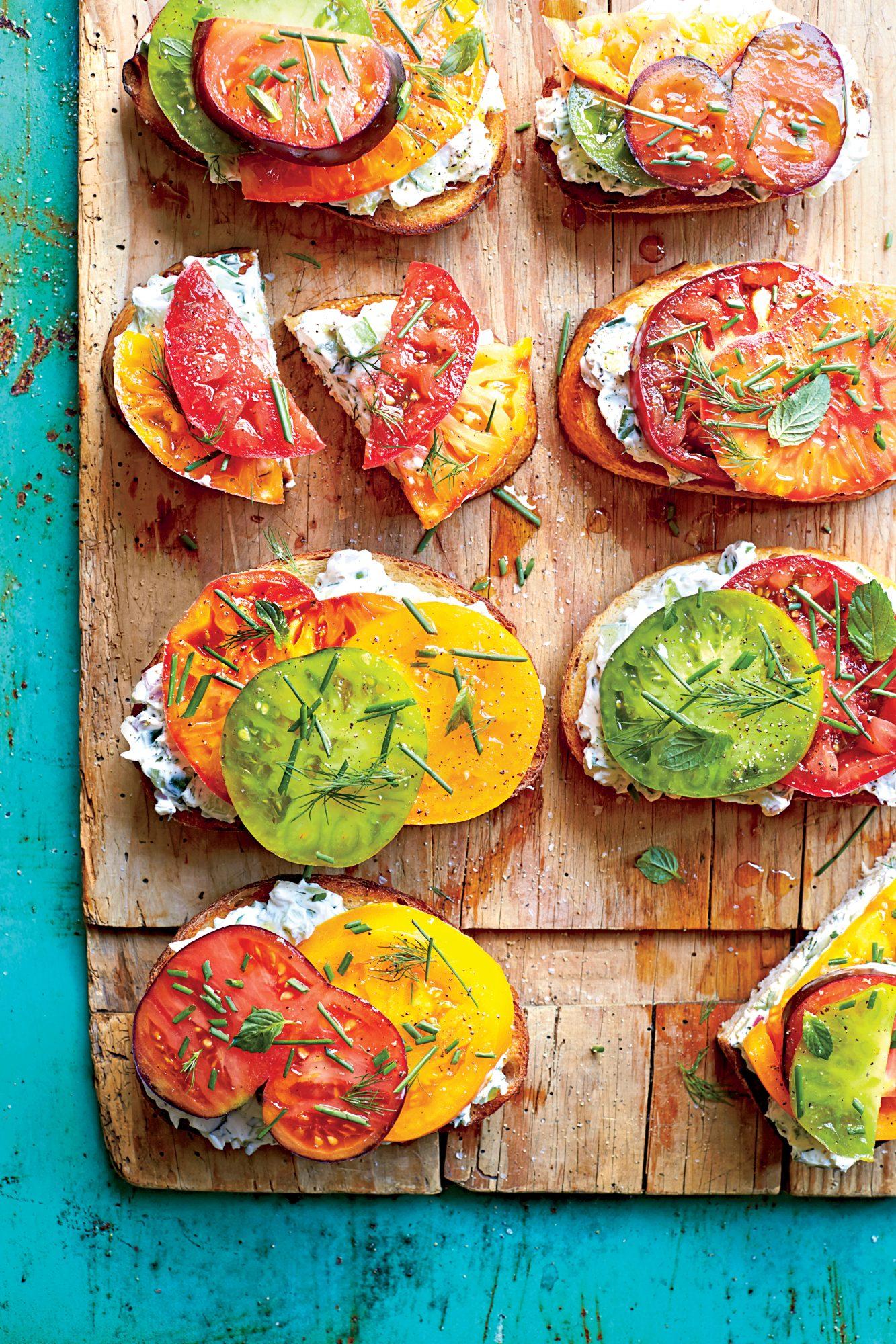Open-Faced Tomato Sandwiches with Creamy Cucumber Spread