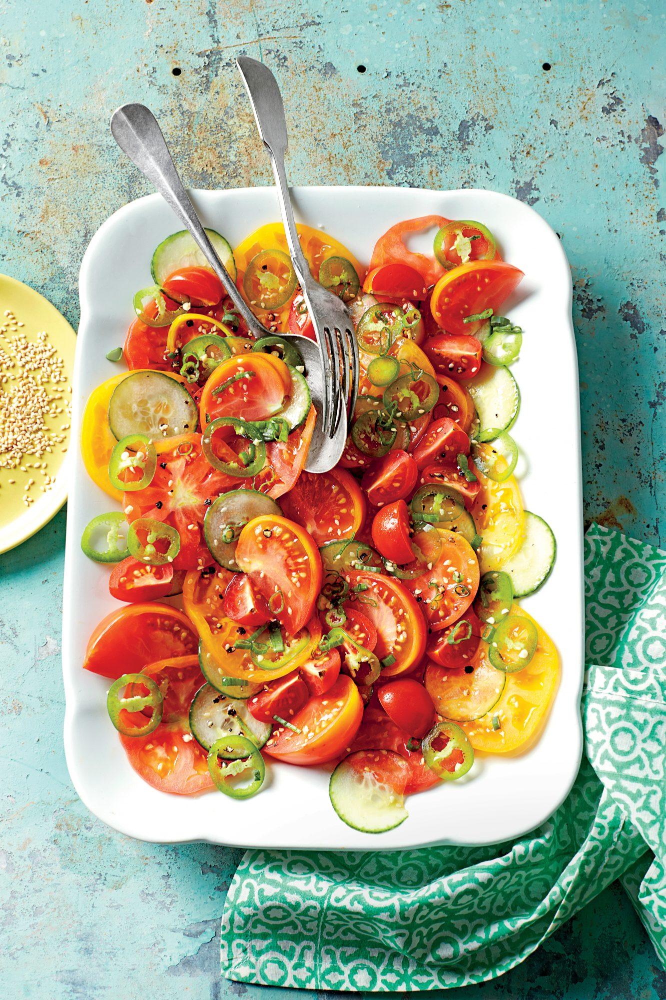 Sesame, Tomato, and Cucumber Salad