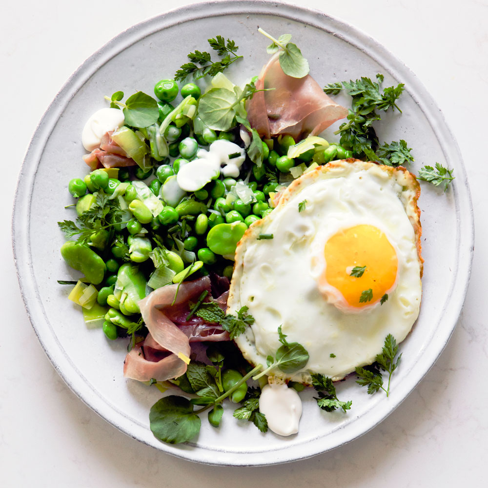 Favas and Peas with Serrano and Fried Eggs (Menestra)