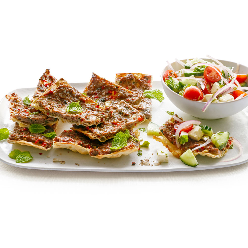 Lamb Flatbread Pizza with Feta and Mint Salad