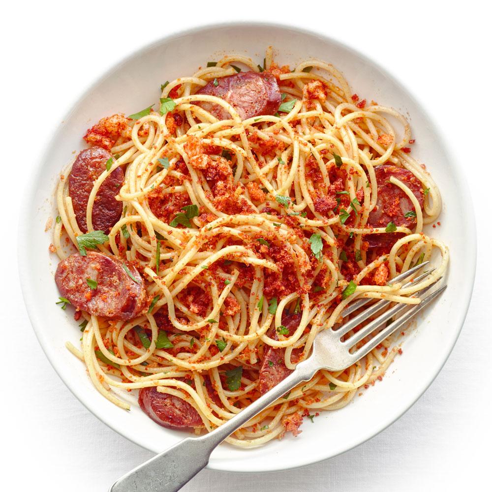 Spaghetti with Chorizo and Toasted Paprika Bread Crumbs
