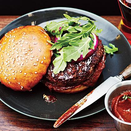Parmesan Buffalo Burgers with Balsamic Ketchup