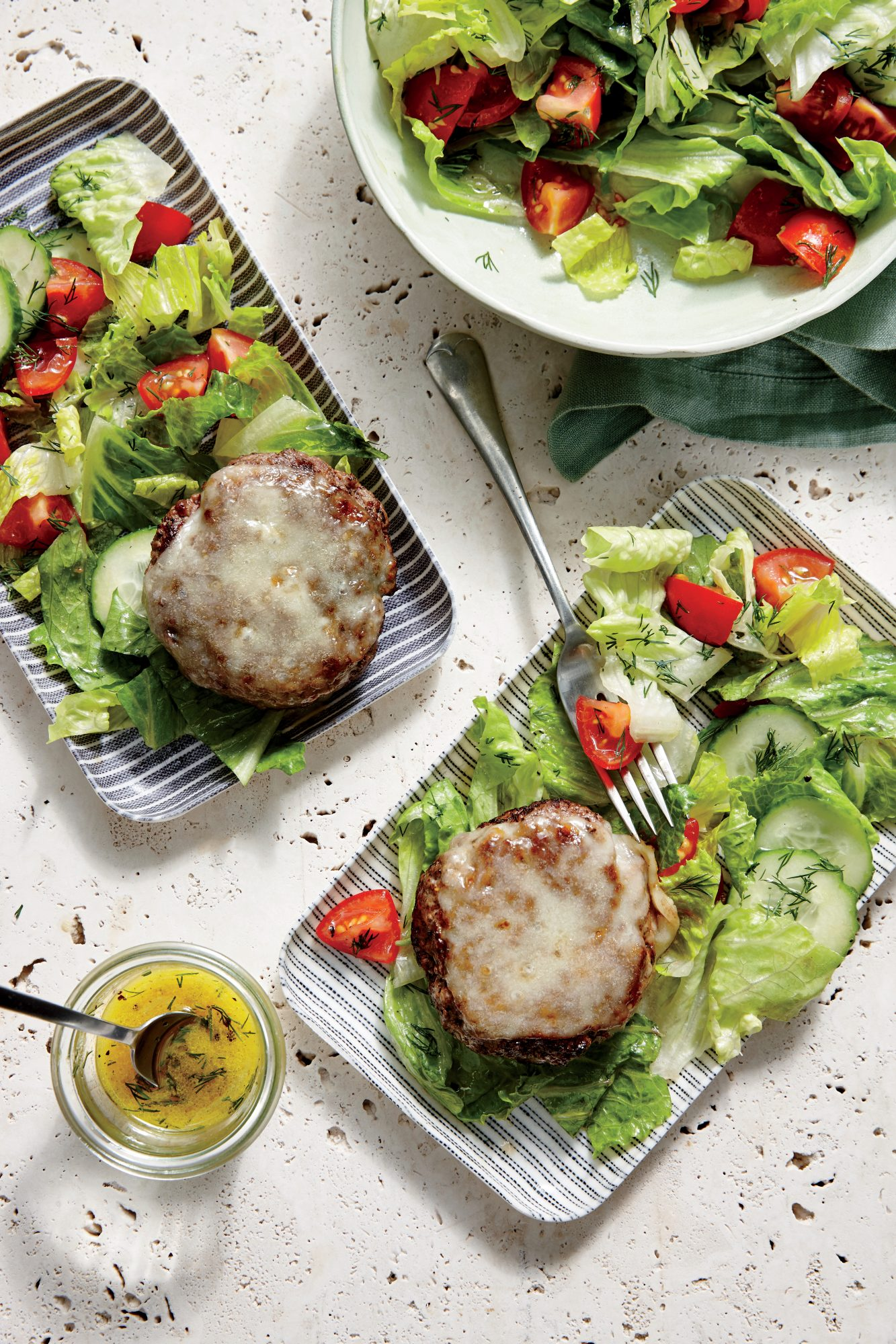 Cheesy Beef Patties with Tomato-Cucumber Salad