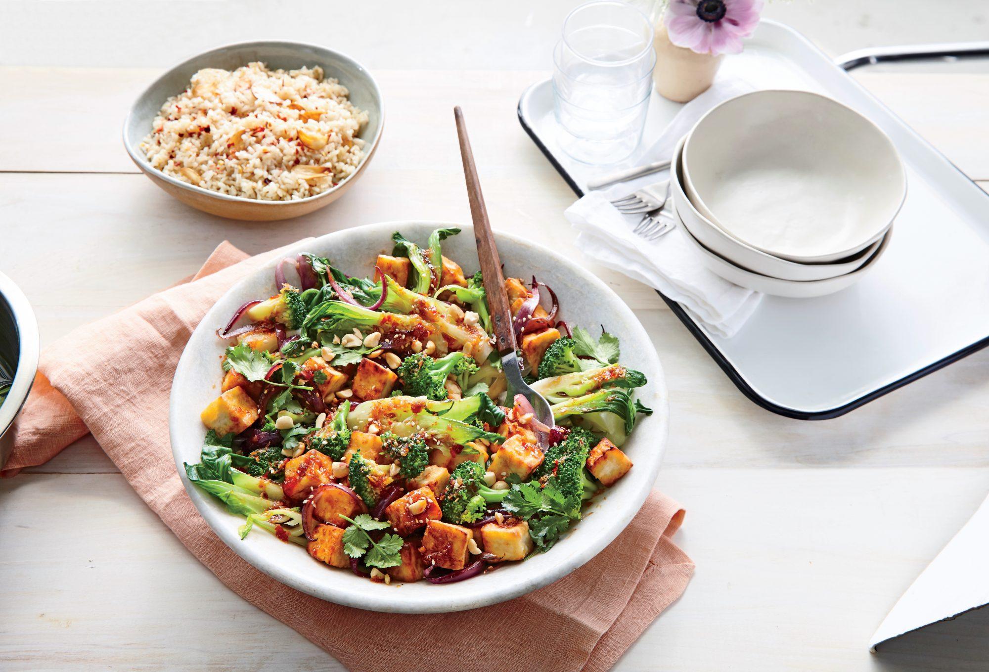 Seared Tofu with Sweet Chili Sauce and Broccoli