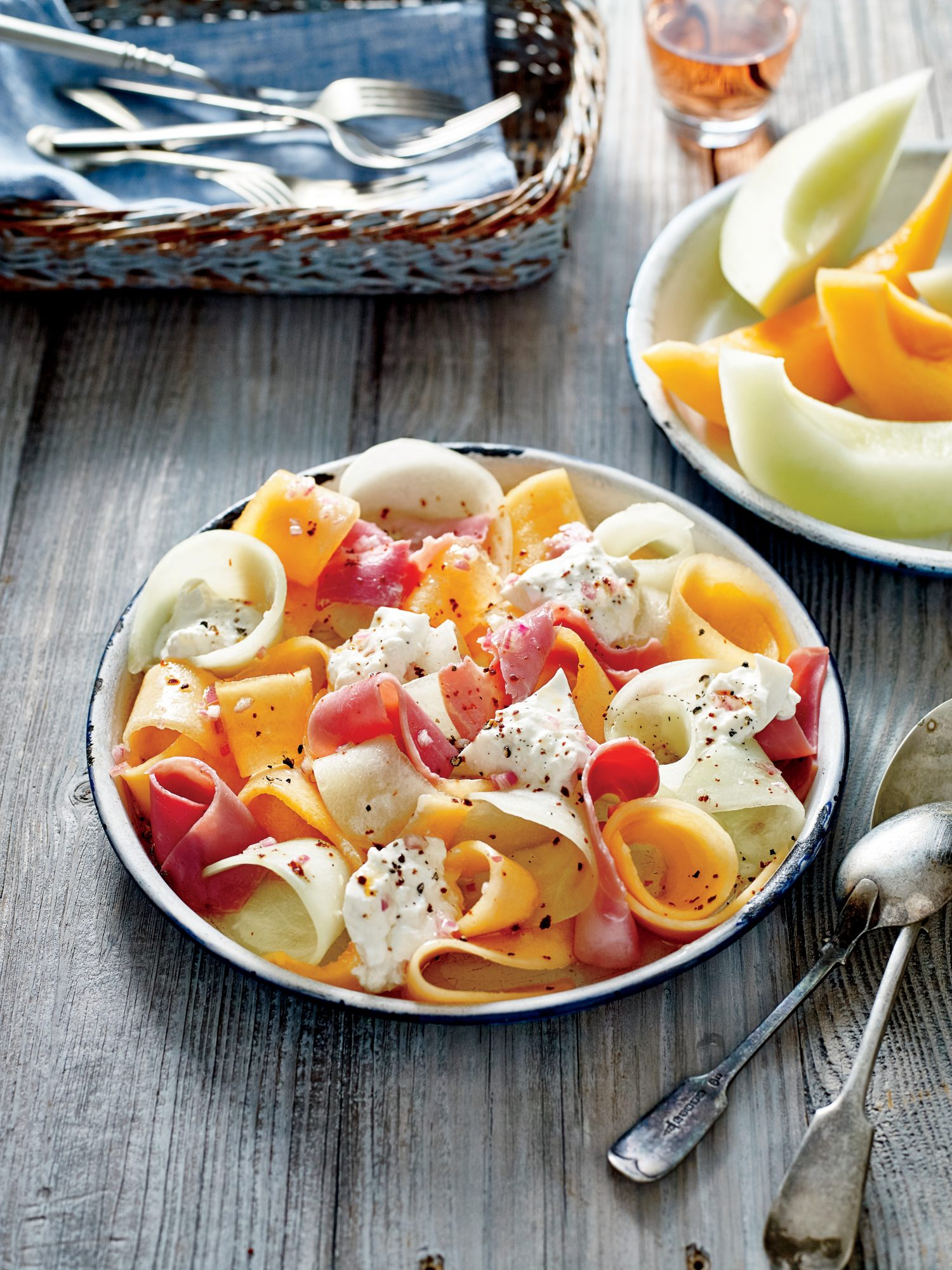 Summer Melon and Ham Salad with Burrata and Chile