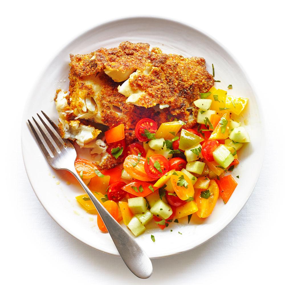 Falafel Fish with Israeli Salad