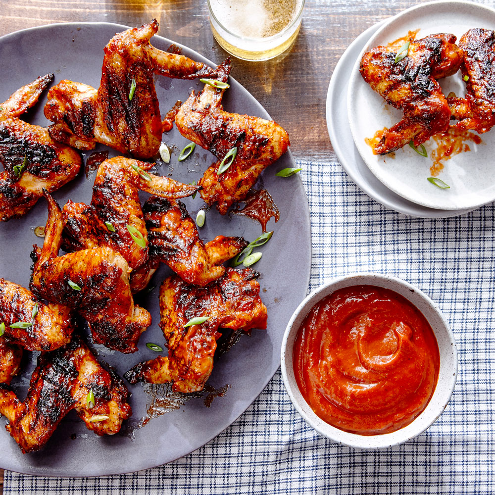 su-Grilled Chicken Wings with Tamarind Chipotle Barbecue Sauce Image