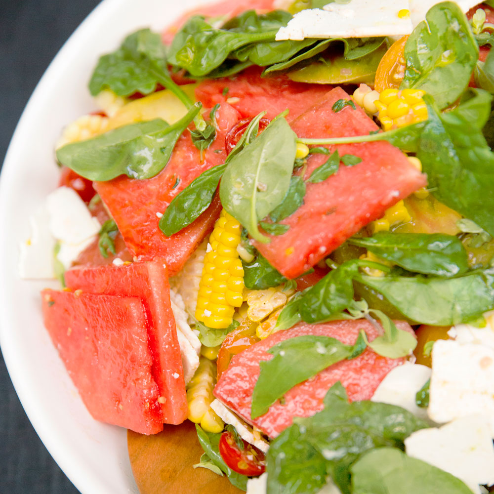 Watermelon, Corn, and Tomato Salad