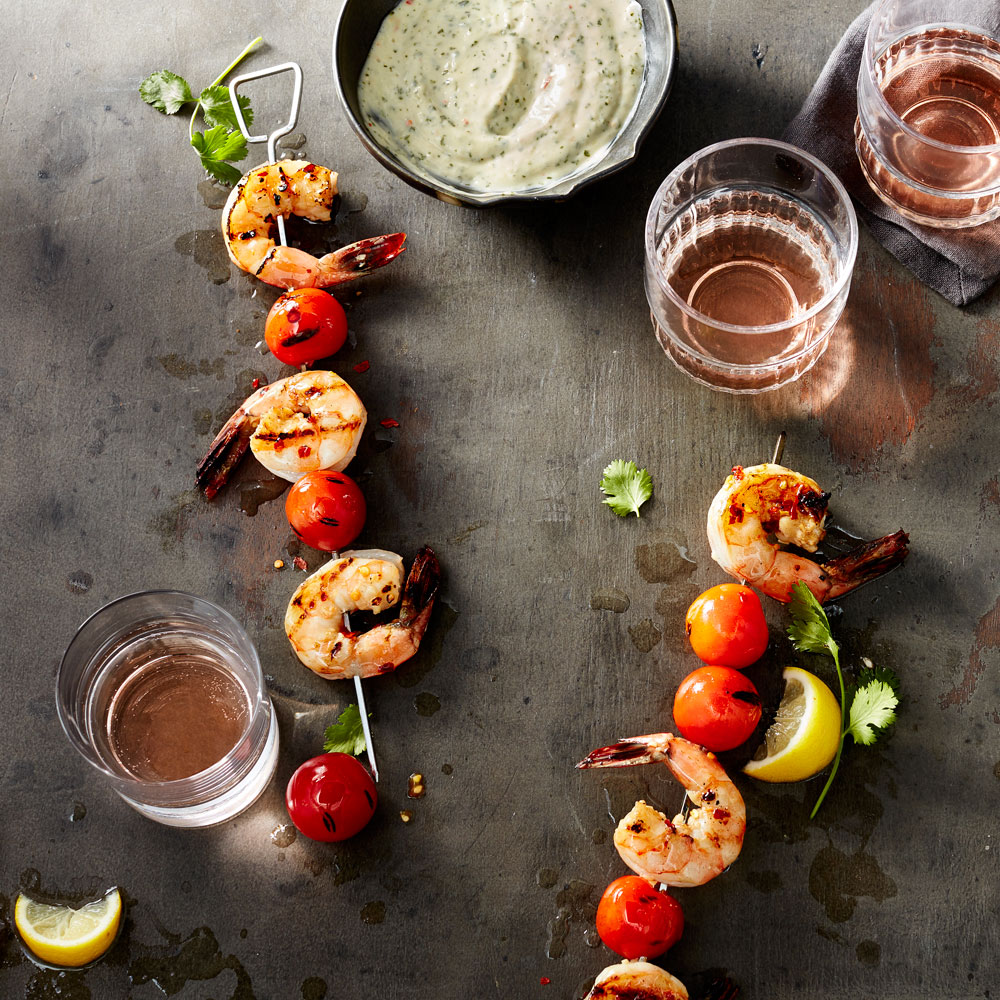 Spicy Shrimp Kebabs with Cilantro-Ginger Aioli