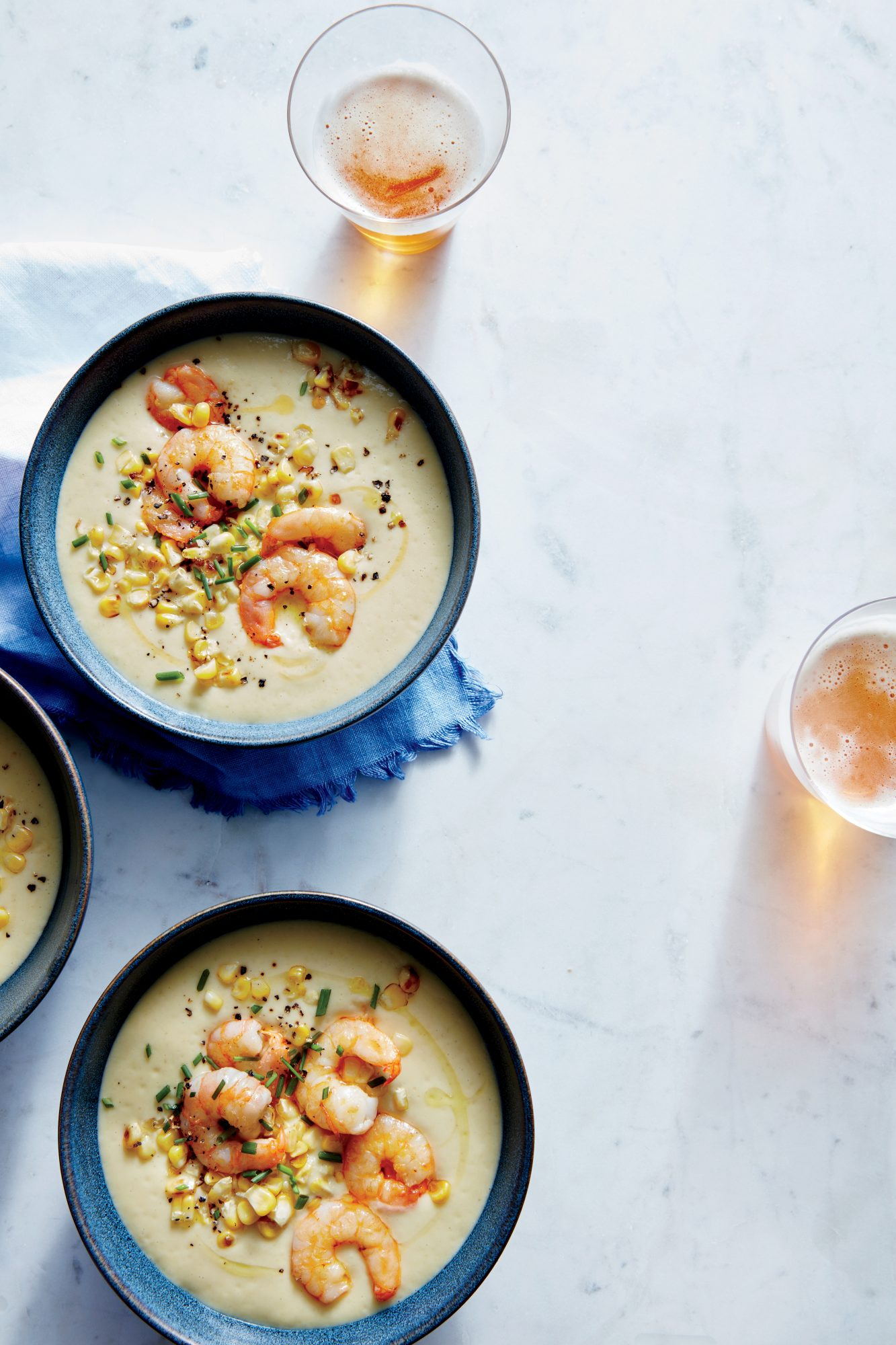 Perfect Corn and Potato Soup with Sauteed Shrimp
