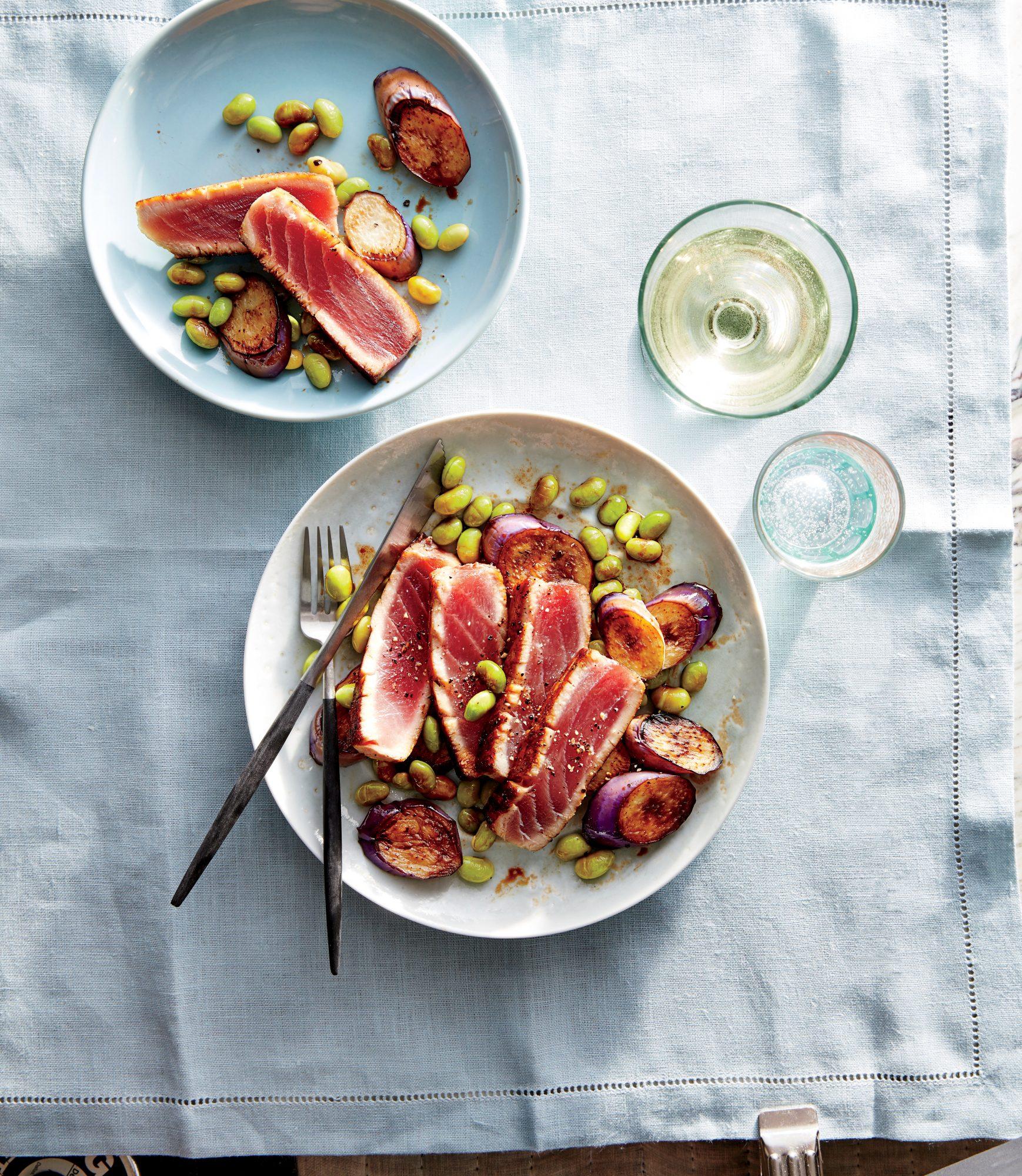 Seared Tuna with Eggplant and Edamame