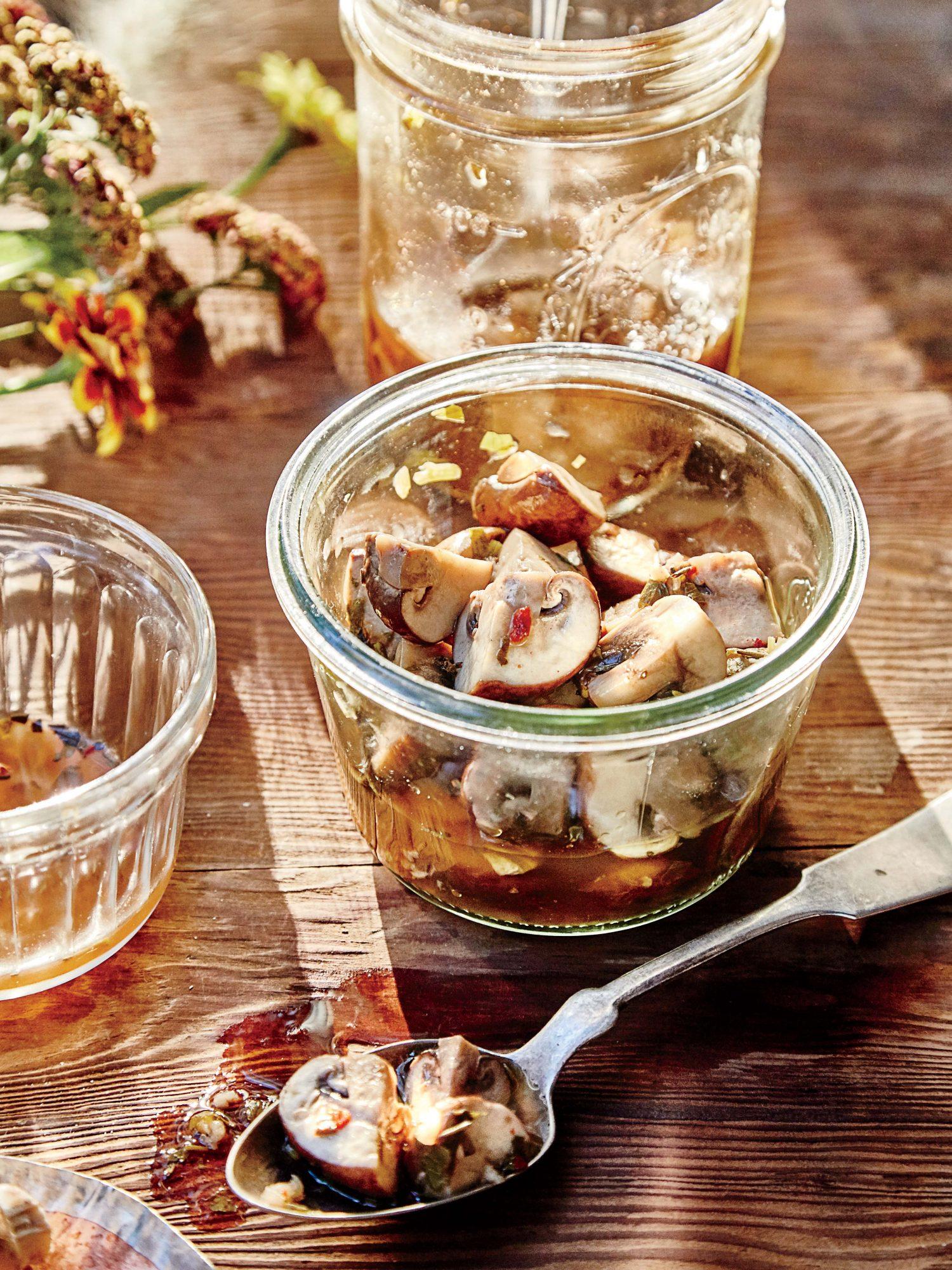 pickled cremini mushrooms image