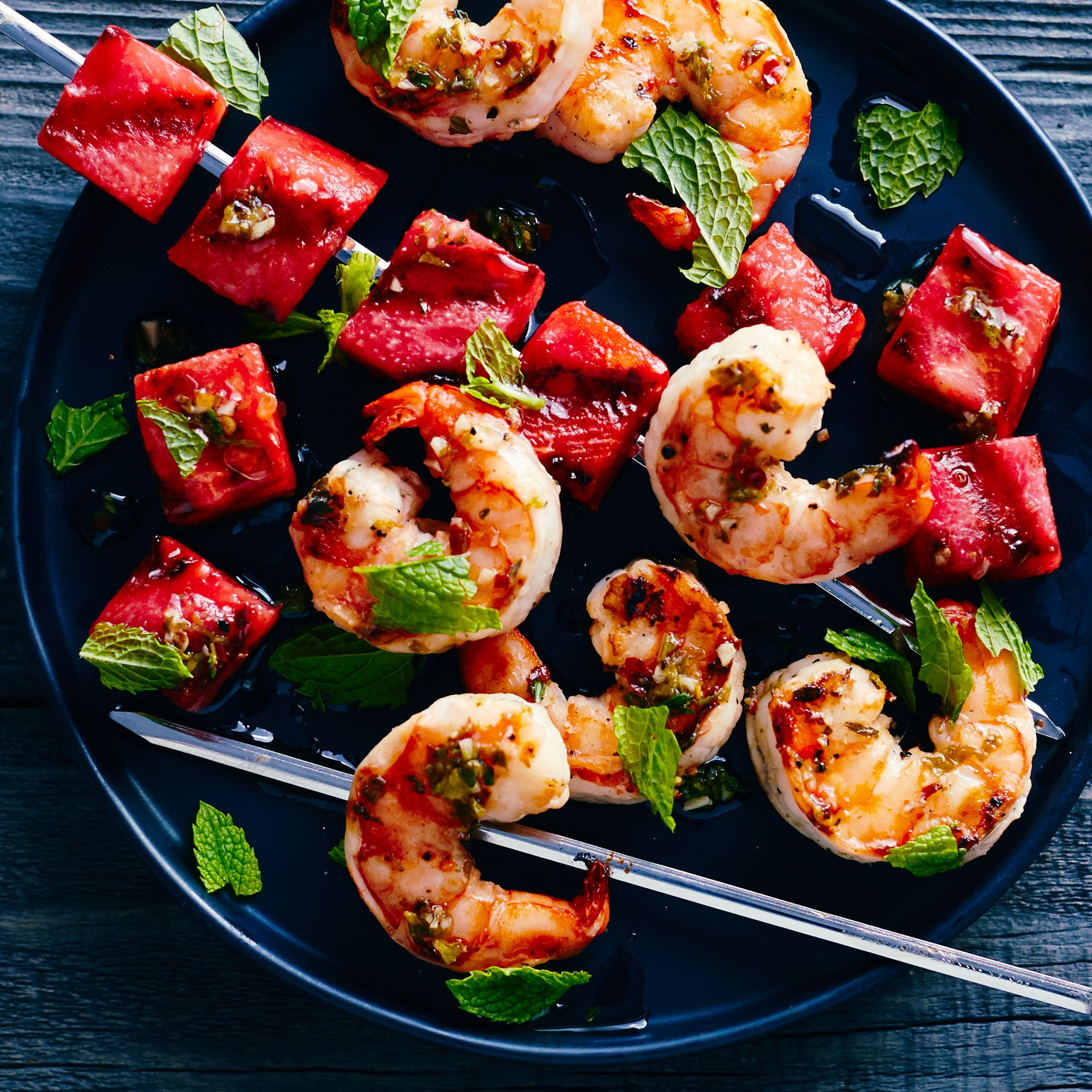 <p>Grilled Watermelon and Shrimp Skewers</p>