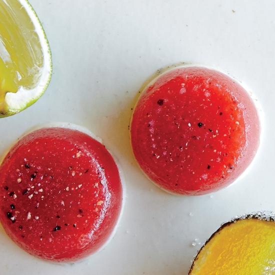 Black Pepper Strawberries-and-Cream Gelly Shots