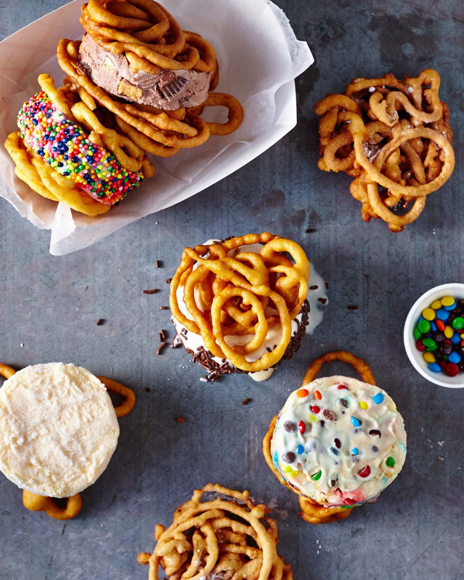 Funnel Cake Ice Cream Sandwiches