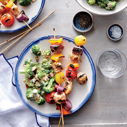 Spicy Buttermilk Chicken and Vegetable Kebabs
