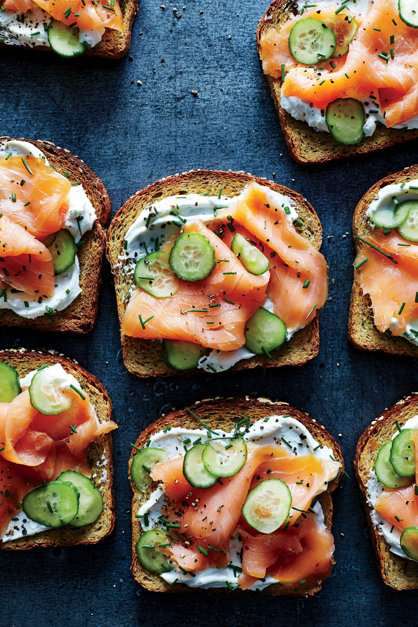 Cucumber-Lox Toast                            RecipeThe loaded deli bagel works perfectly as an instant toast topper. Greek yogurt has the same tang and richness as cream cheese, and you don't have to wait for it to soften. Sprinkle with additional chives for more punch.