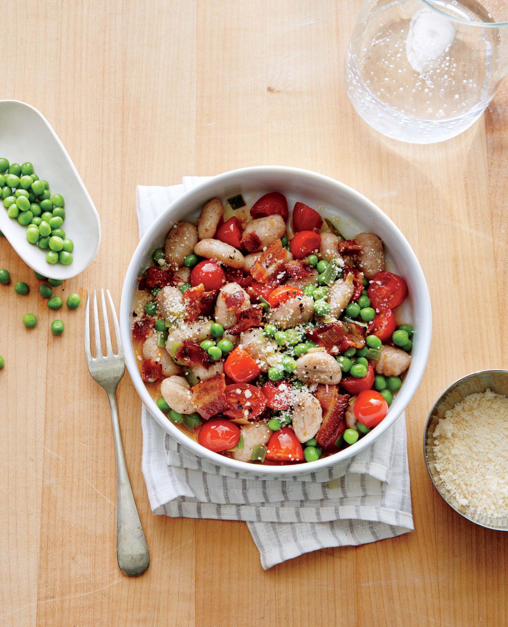 Pea, Tomato, and Bacon Gnocchi image