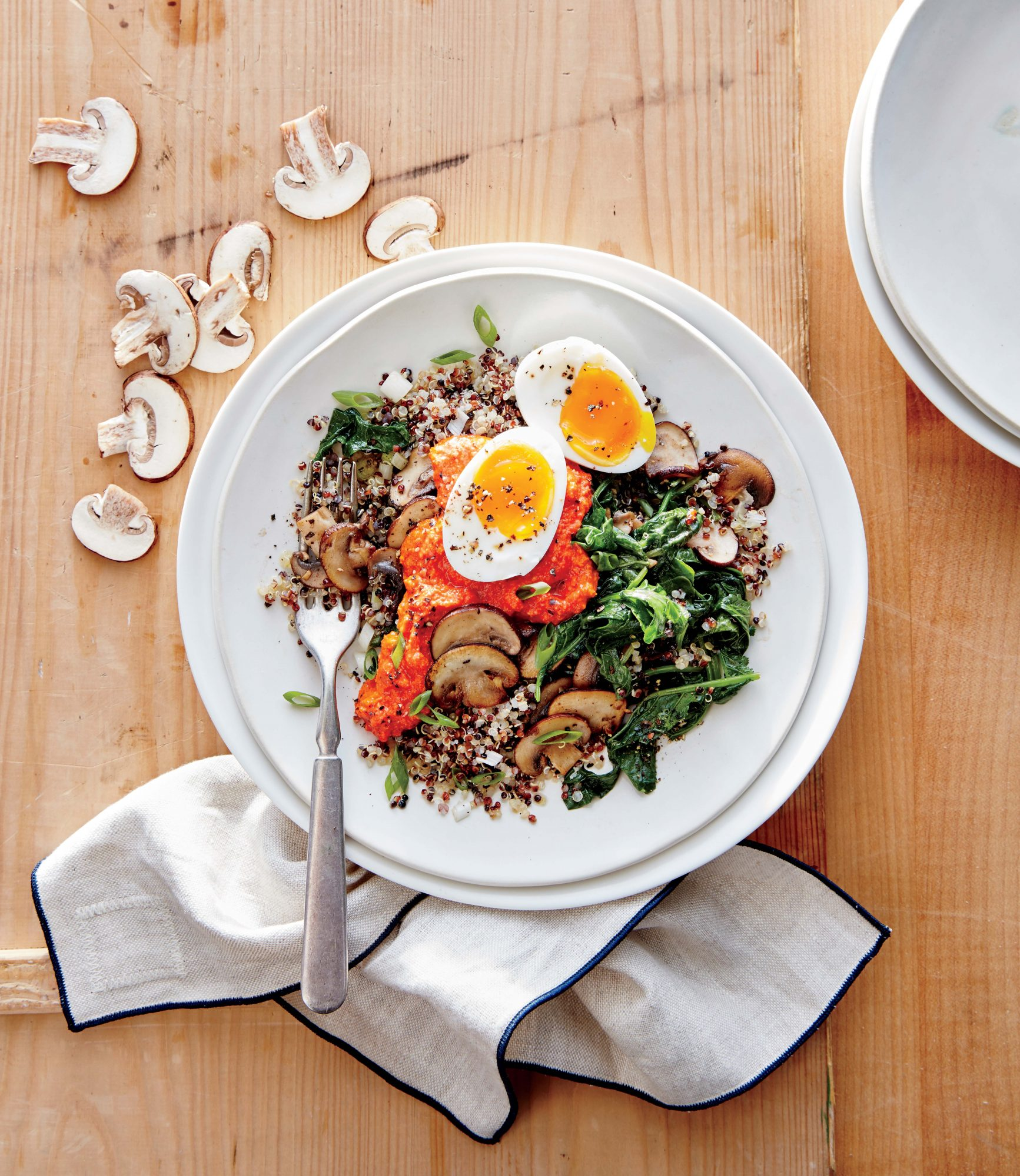 Kale and Mushroom Quinoa with Romesco image