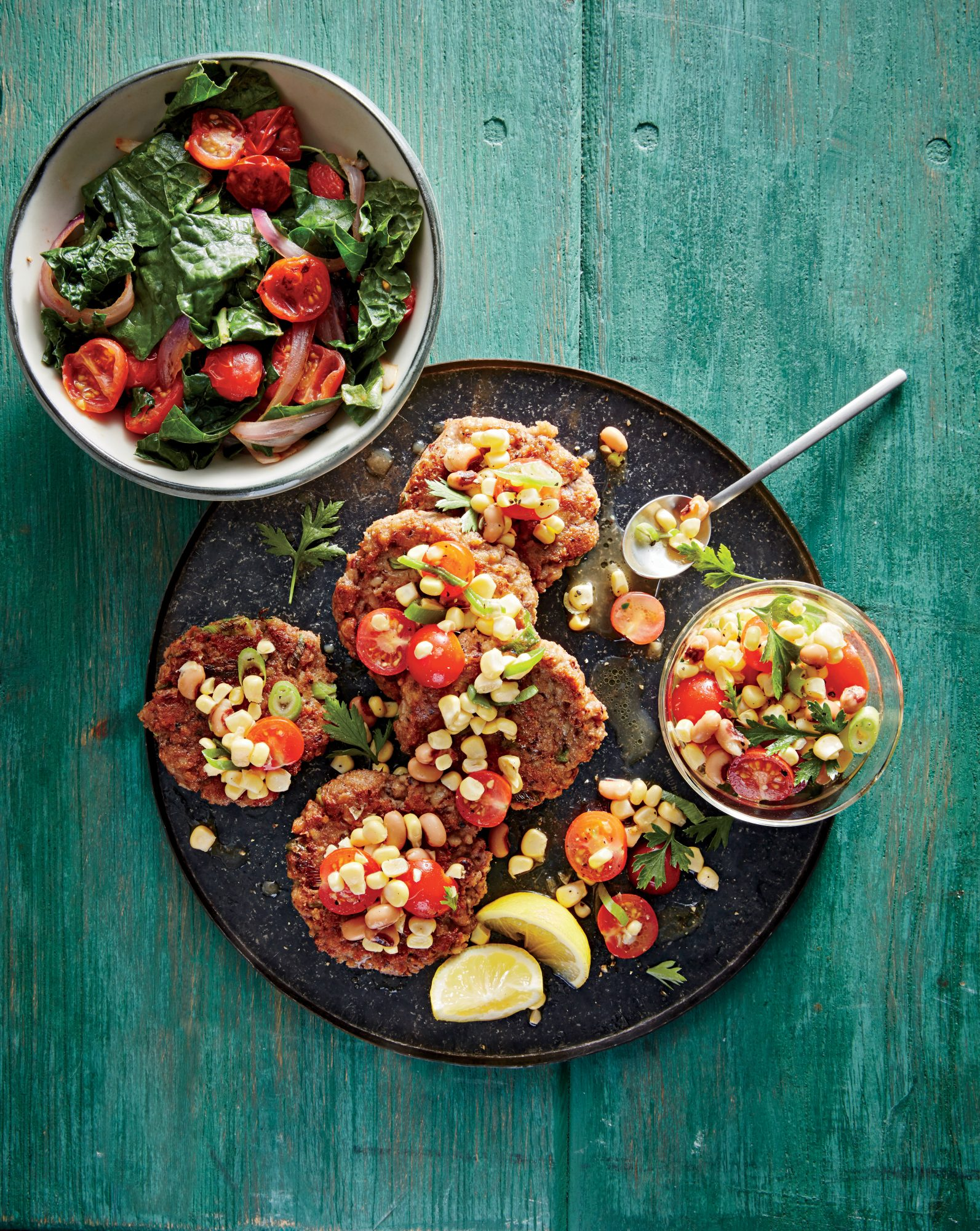 Black-Eyed Pea Cakes with Corn Salsa