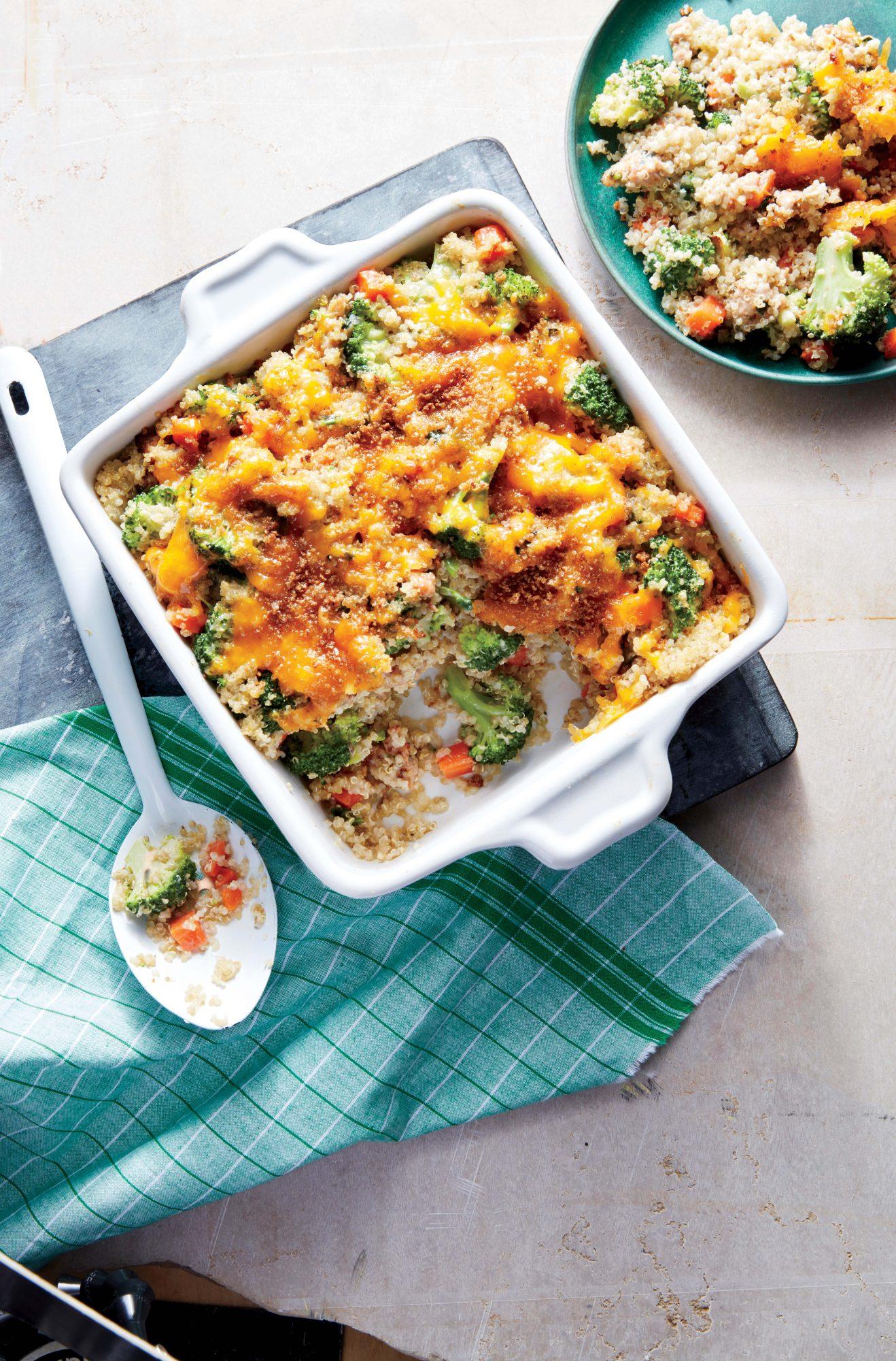 Cheesy Sausage, Broccoli, and Quinoa Casserole
