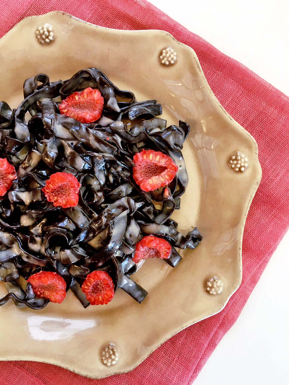 Chocolate Pasta with Boozy Raspberry-White Chocolate Sauce