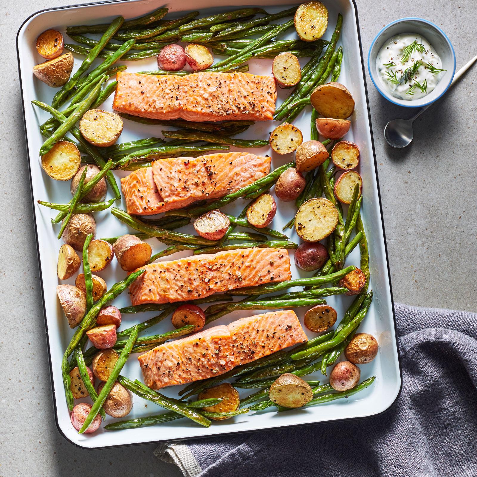 Sheet Pan Salmon, Green Beans, and Potatoes Recipe | MyRecipes