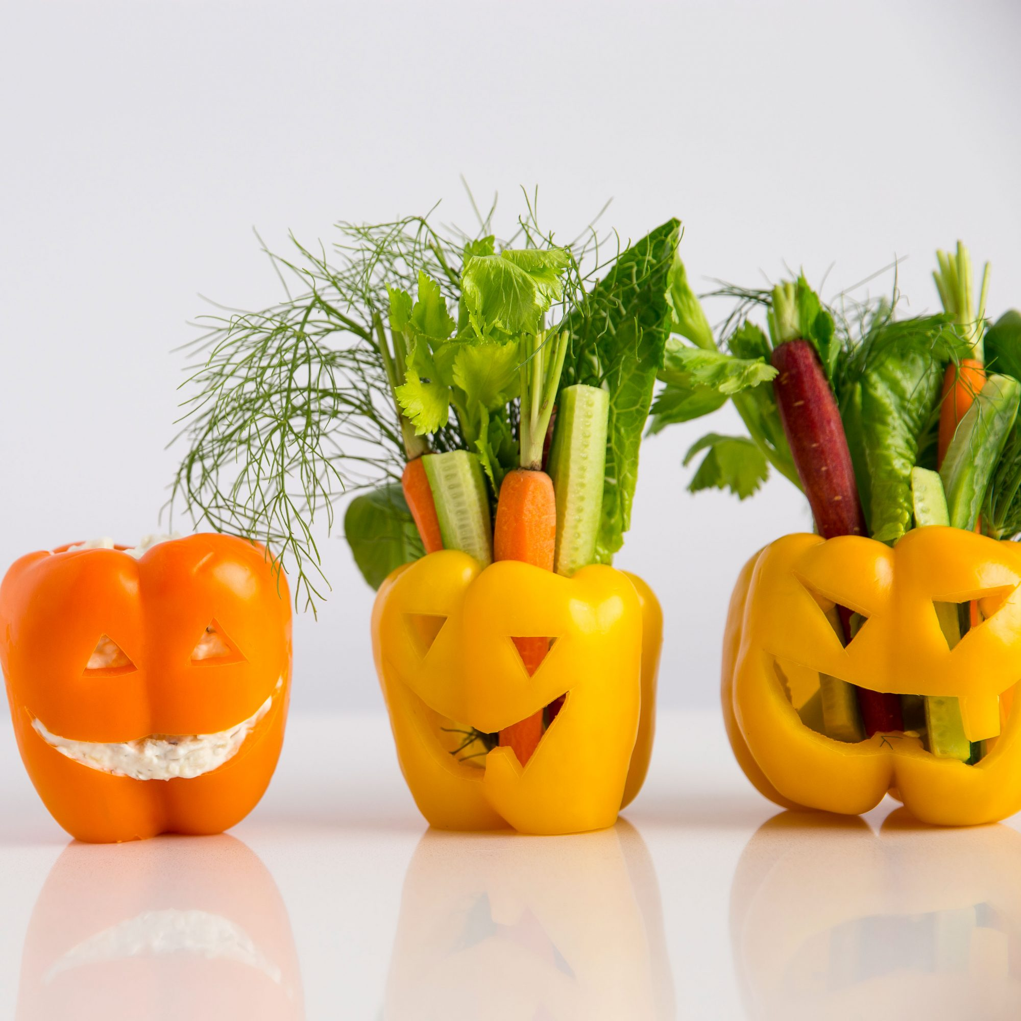 Bell Pepper Jack O'Lanterns with Vegetables and Dip