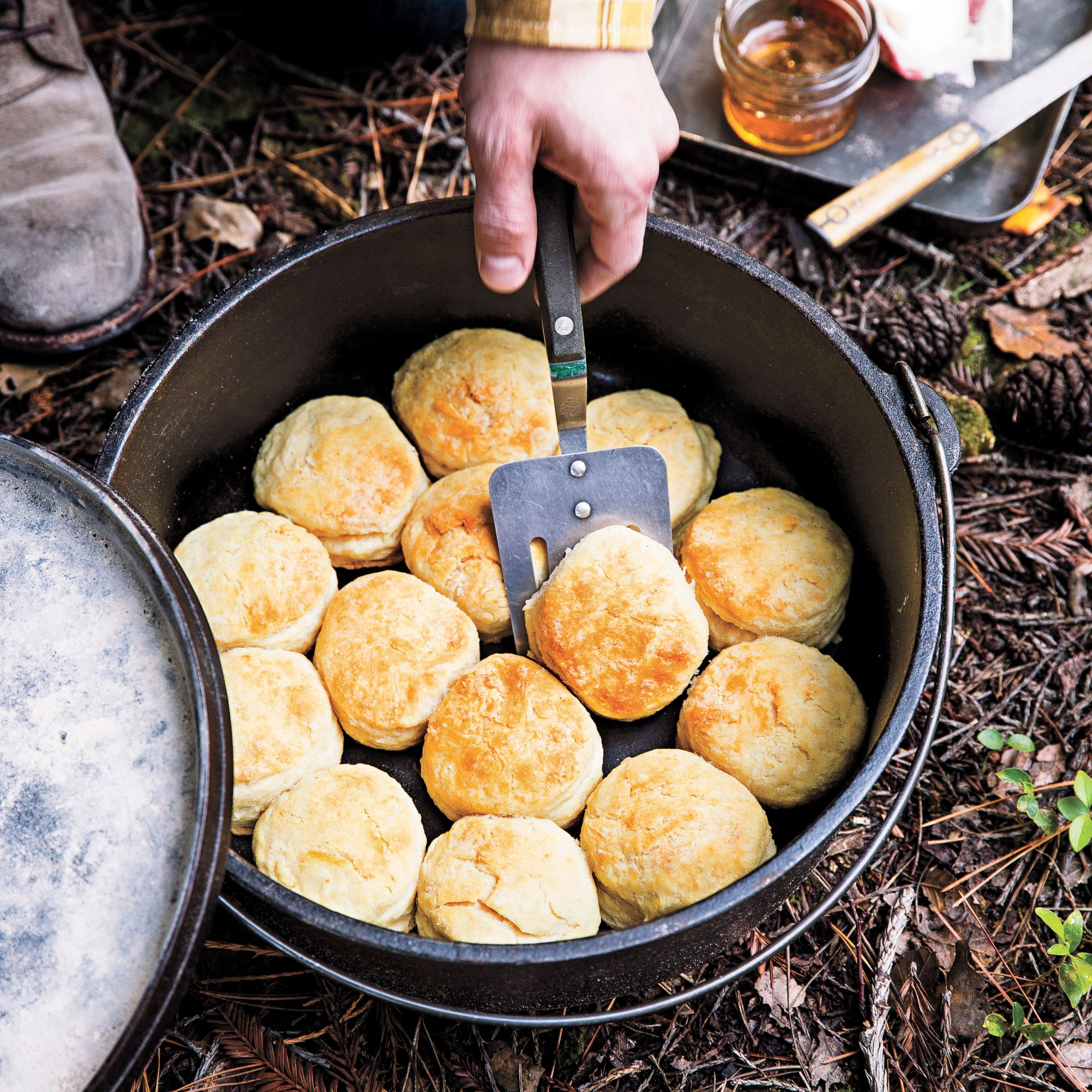 Mark klever 39 s dutch oven biscuits recipe myrecipes for Healthy dutch oven camping recipes