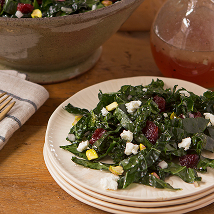 Juicy Juice® Kale Salad with Cherries, Pistachios and Goat Cheese