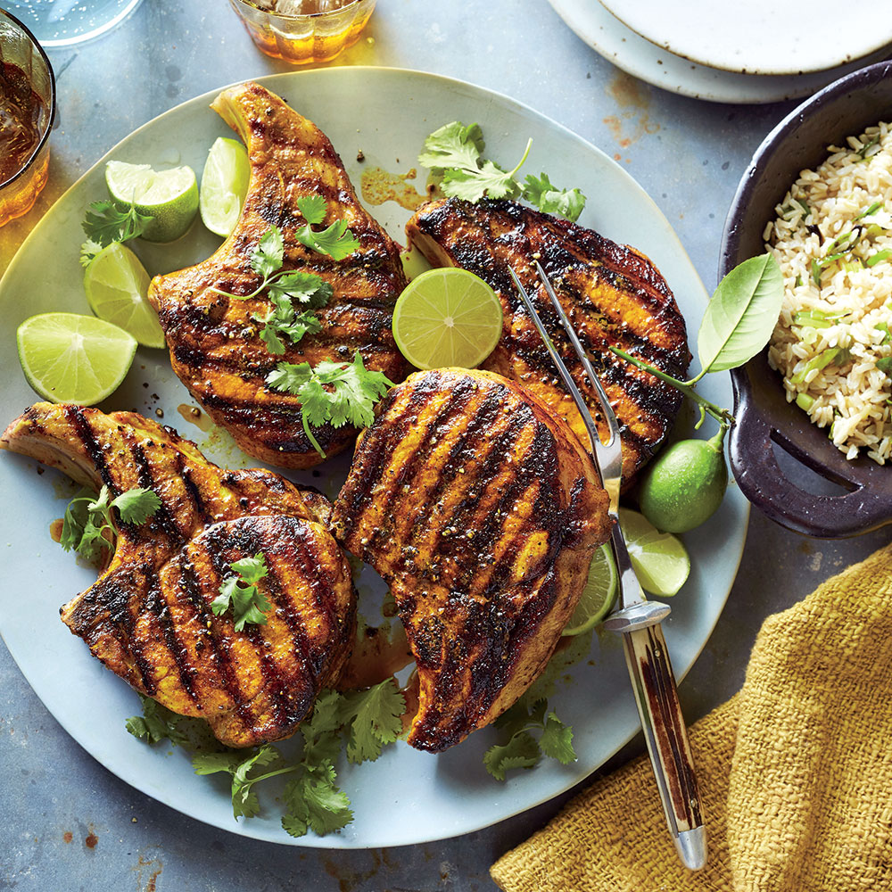 Turmeric Pork Chops with Green Onion Rice