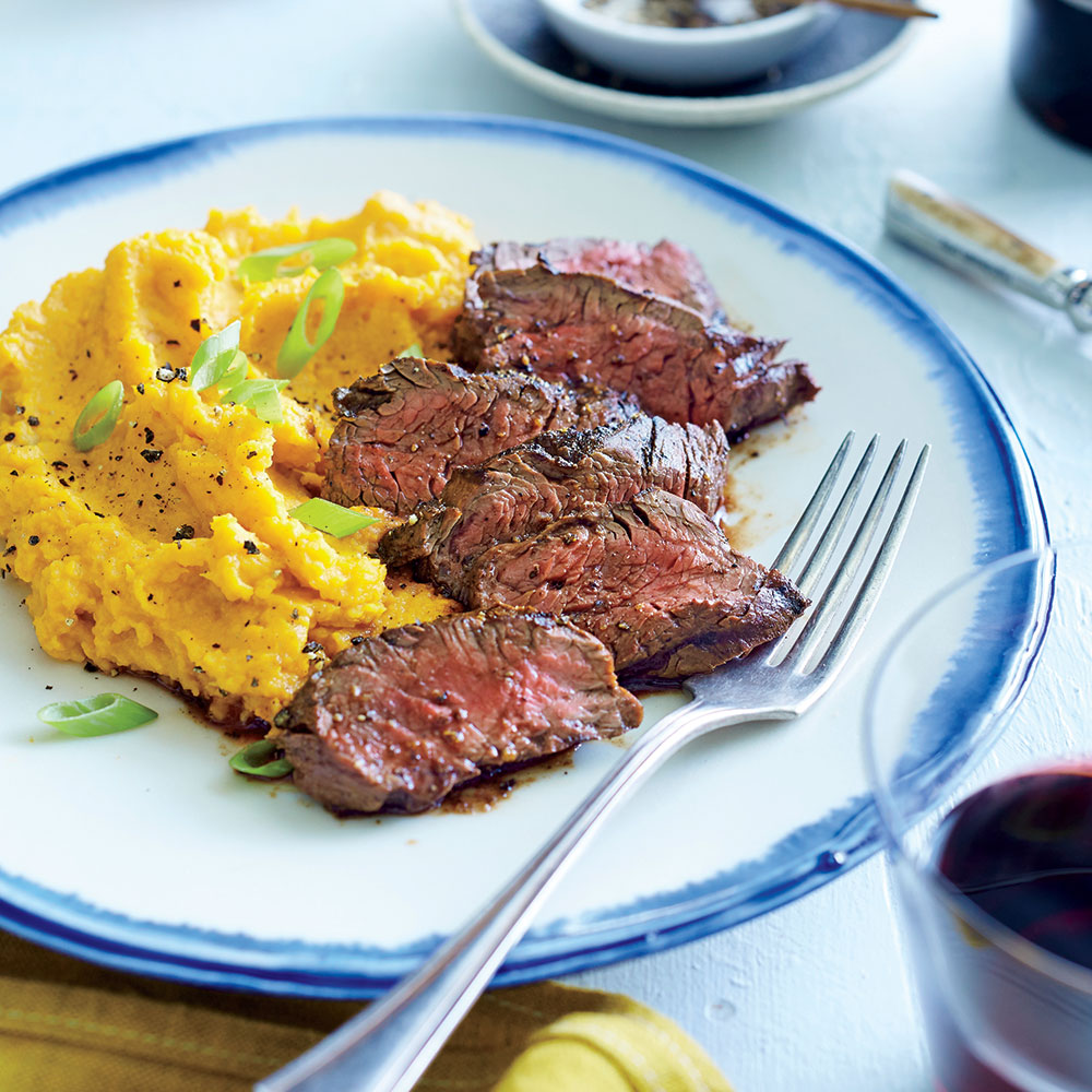 Chipotle Hanger Steak with Sour Cream Mashed Sweet Potatoes