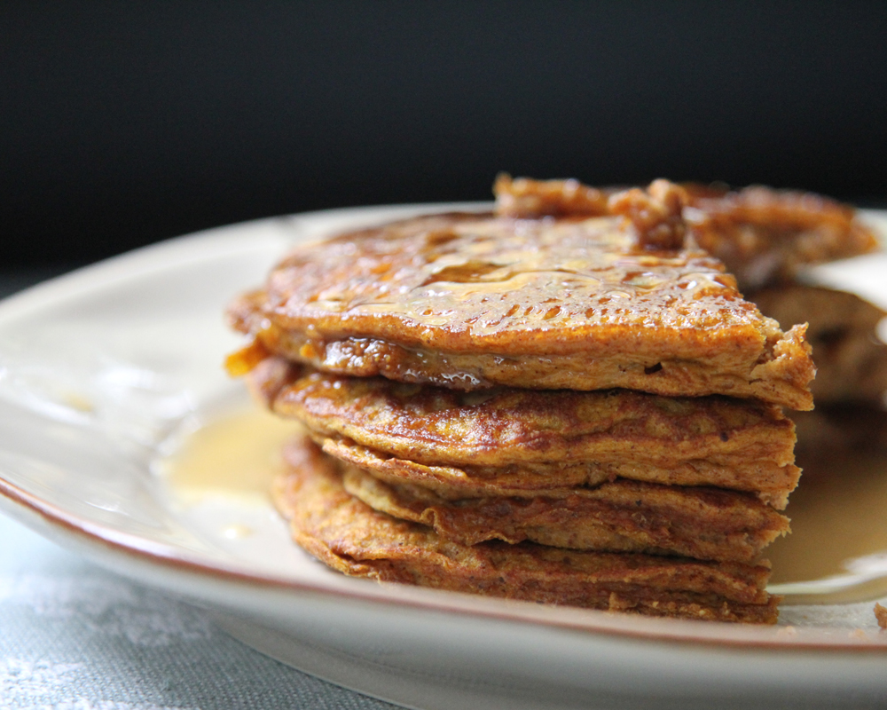 Paleo Pumpkin Pancakes                            RecipeThe pumpkin and spices really shines in these Paleo Pumpkin Pancakes, but feel free to use as much or little of the spice mix as you want.The almond butter gives these naturally sweet pancakes a nutty flavor and a punch of protein and healthy fats.