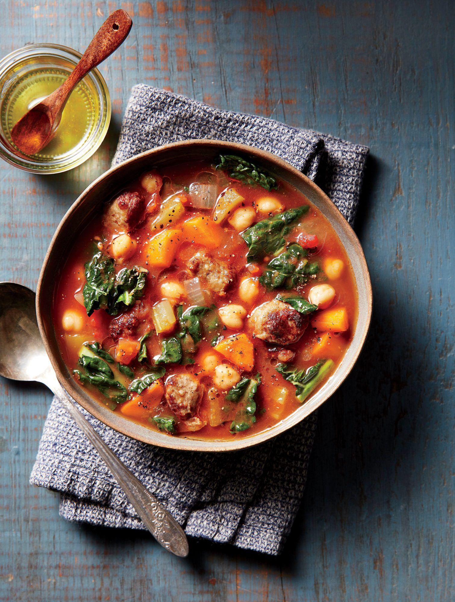 Spicy Sausage-and-Chickpea Soup with Garlic Oil
