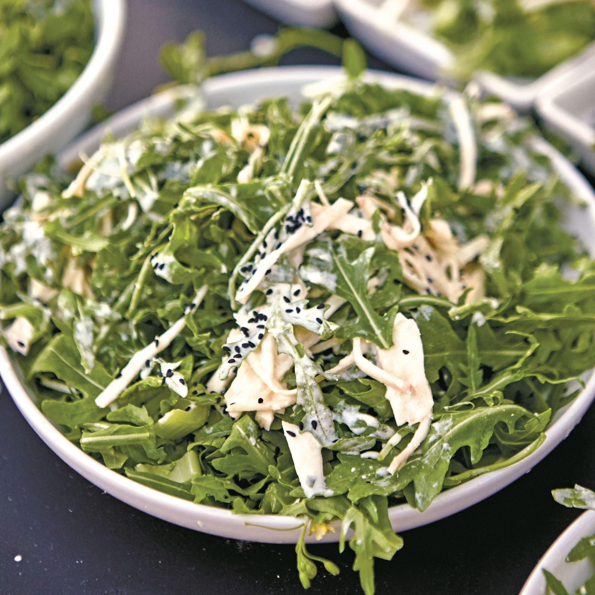 Celery Root Arugula Salad with Horseradish Dressing