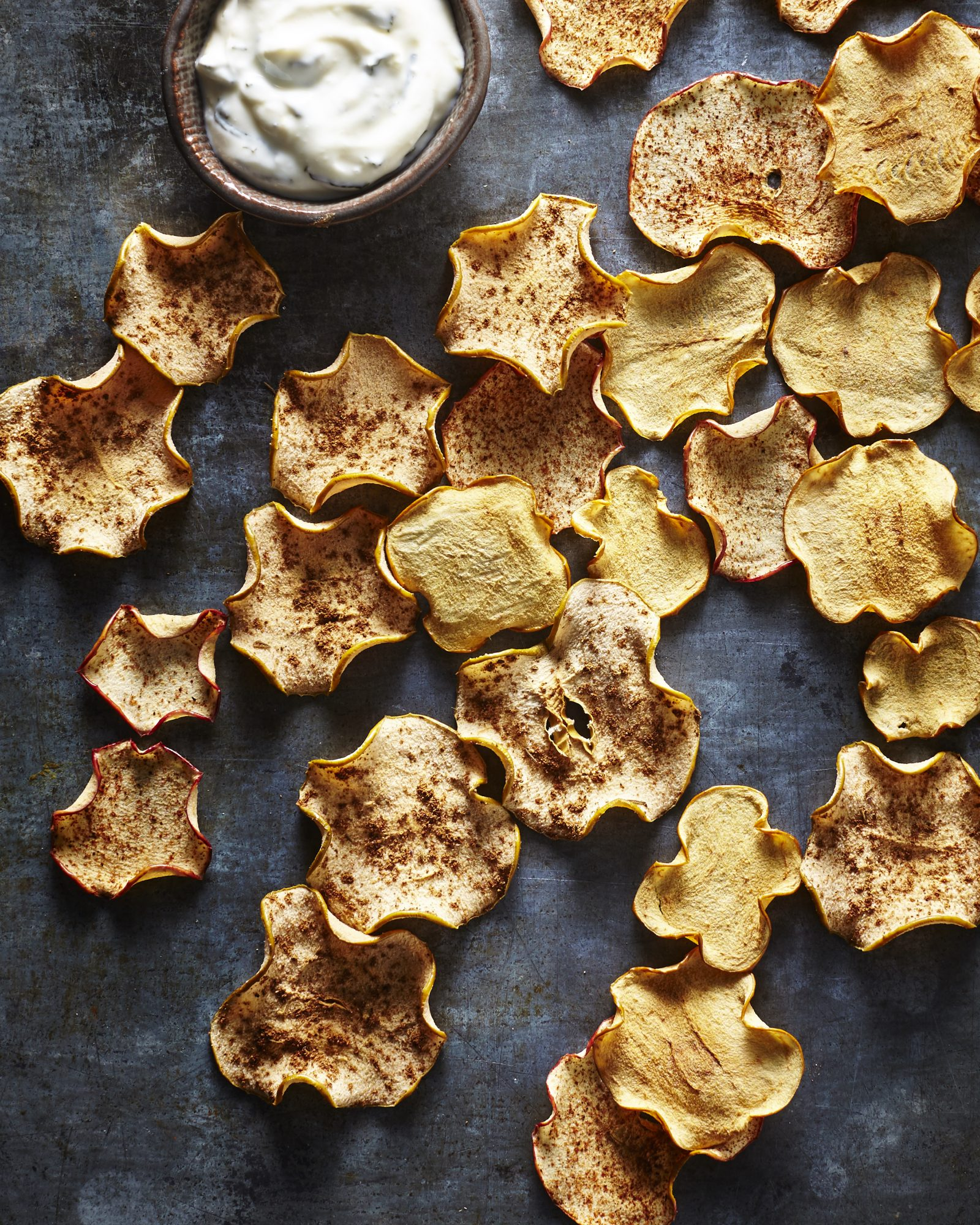 Apple Chips with Honey-Lemon Mint Yogurt Dip