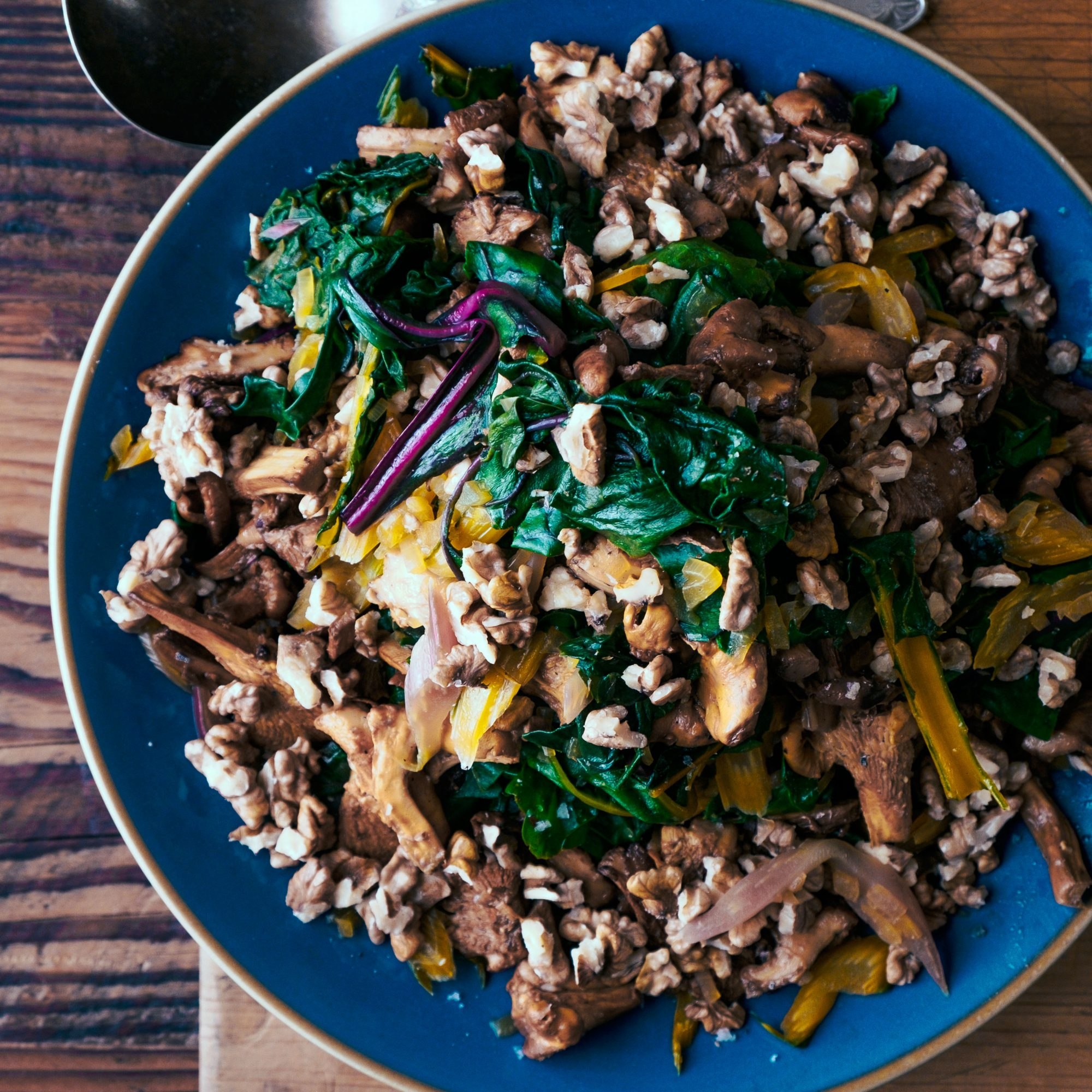 Rainbow Chard with Chanterelles and Walnuts